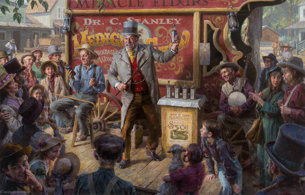 Snake Oil Salesman, 36 X 56 Oil on Linen